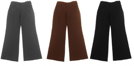 New Girls School Uniform Trousers (100% Polyester Big Button Loop Bootleg Trouser)